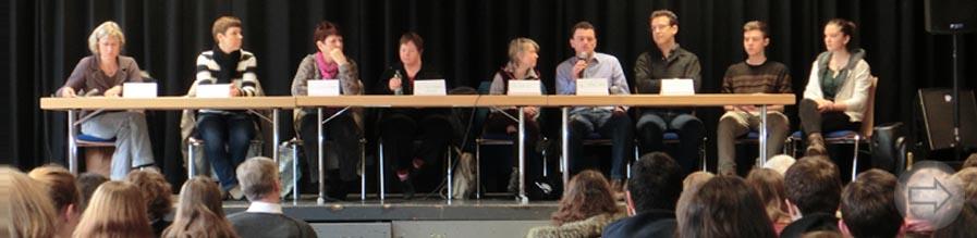 GenEthik-Tag am Starkenburg-Gymnasium – Schüler diskutieren mit Expertenrunde über den Frühtest zum Nachweis des Down-Syndroms