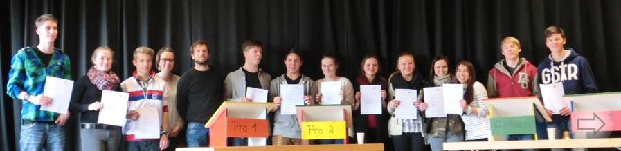 Schulwettbewerb Jugend debattiert am 28.01.13 am Starkenburg-Gymnasium