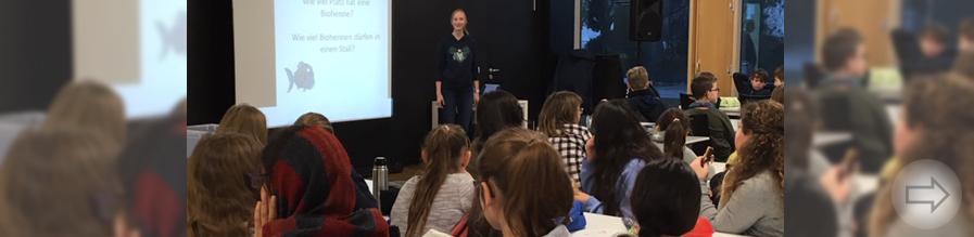 SOKO Tierschutz berichtet vor Schülerinnen und Schülern der 5. und  6. Klassen über ihre Arbeit